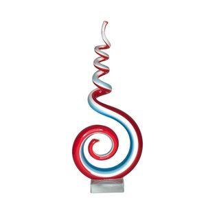 Murano Style Art Glass Swirl Red Blue Sculpture